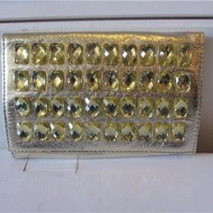 DEUX LUX GOLD CLUTCH WITH GOLD STONES ON FRONT